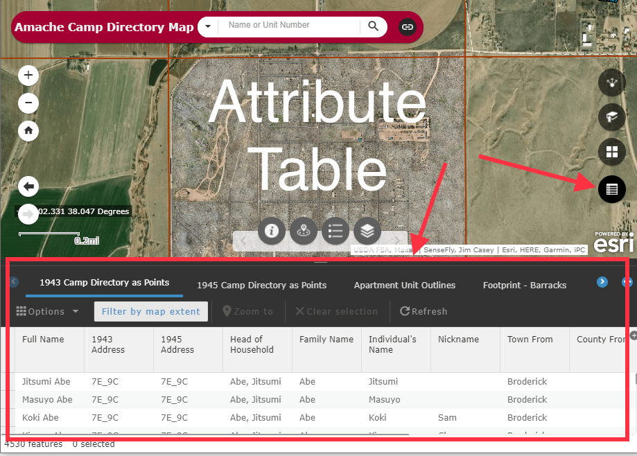Find people using the Attribute Table widget